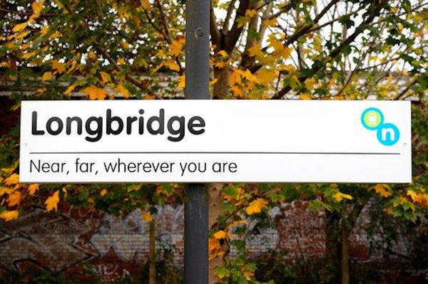 . Ian Richards and Cathy Wade, You Have Arrived 2017, for Longbridge Public Art Project courtesy of WERK. Photography by Stephen Burke. Thirteen individual signs for platforms 1 & 2 at Longbridge Train Station, Longbridge, Birmingham U.K